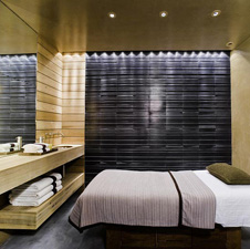 Teak wood paneling inside spa