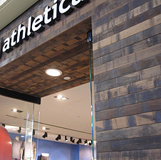Teak Engineered paneling in Lululemon store
