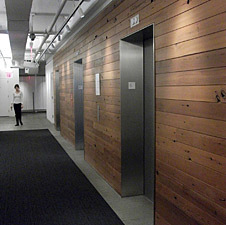 Reclaimed Redwood Paneling Cinnamon Mix Flooring in office building in NY