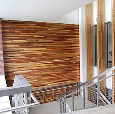 Reclaimed wood paneling inside Oregon State University building