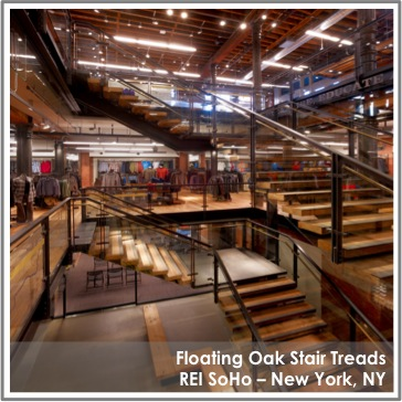 Reclaimed Oak Stair Treads by TerraMai at REI Soho in NY