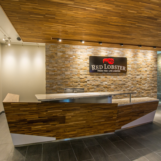 Reclaimed Teak Metro paneling in Red Lobster office building
