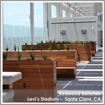Reclaimed Redwood Benches by TerraMai at Levi's Stadium Santa Clara, CA