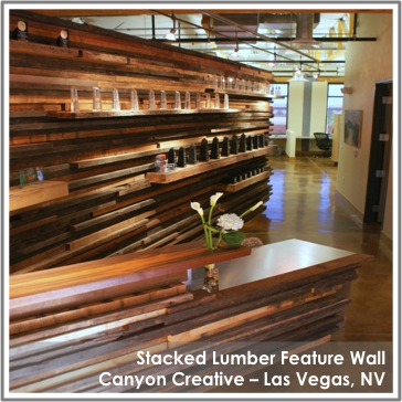 Reclaimed Stacked Lumber Feature Wall at Canyon Creative in Las Vegas, NV
