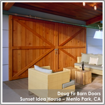 Reclaimed Doug Fir Barn Doors by TerraMai at Sunset House Menlo Park, CA