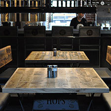 Reclaimed Oak Tabletops inside Brewery in Portland