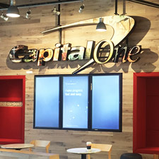 Reclaimed Oak paneling in Capital One in Chicago