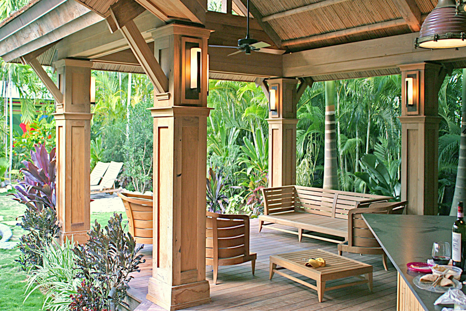 key west residence reclaimed teak siding, paneling, beams and columns