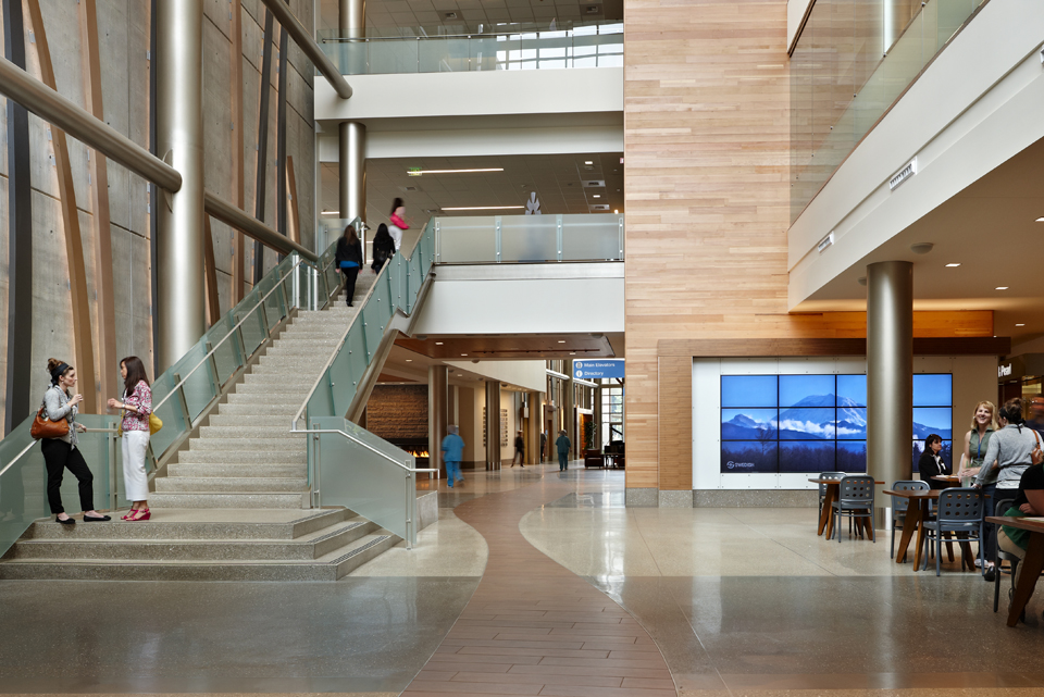 Reclaimed teak and fir paneling in swedish medical center