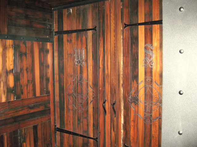 Recycled redwood paneling installation
