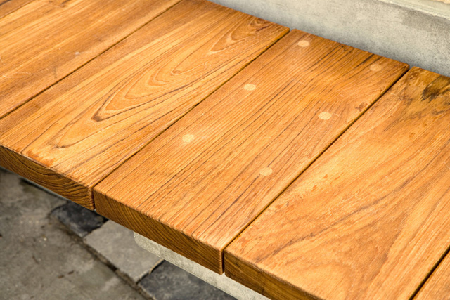 recycled teak bench in Whole Foods